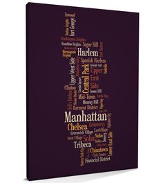 vintage canvas maps of new york | manhattan new york text map canvas print format canvas wrapped on 18mm ...