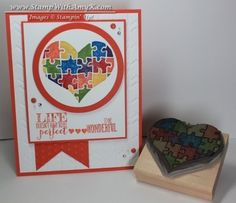 Autism Awareness stamp carved by Amy Koenders