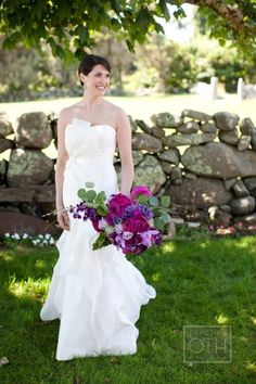 Vibrant colors contrast with gown. Love it