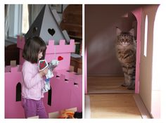 Iris Grace Playing with Thula in the pink castle http://irisgracepainting.com/