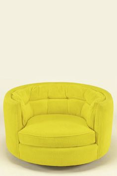 Oval Button-Tufted Canary Yellow Chenille Lounge Chair - USA 1960s from 1ST DIPS