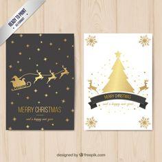Cartão do Feliz Natal com decoração dourada Vetor grátis