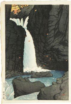 1920 - Hasui, Kawase - Souvenirs of Travels, First Series: Yuhi Waterfall, Shiobara, woodblock print.