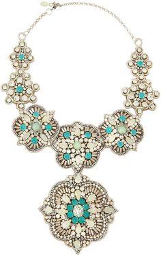 Deepa Gurnani Crystal and Resin Bib Necklace
