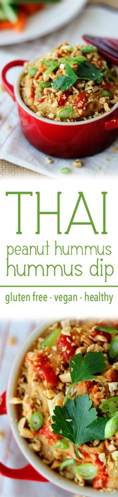 A Thai Peanut Hummus Dip with lime juice, peanut butter and sriracha that's Gluten Free, Vegan, and a Healthy snack or party appetizer.