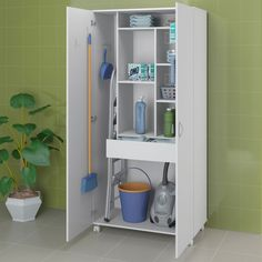 Broom cupboard in laundry room Utility Room Storage, Utility Closet, Laundry Room Organization, Storage Spaces, Locker Storage, Laundry Cupboard, Laundry Closet, Cleaning Closet, Laundry In Bathroom