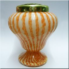 Welz orange + white glass 'Vertical Stripes' posy vase.