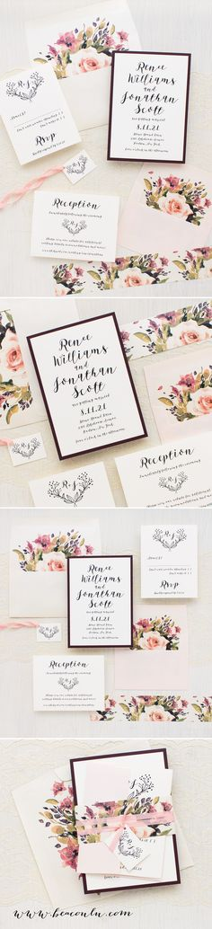 Watercolor blush peach, pink and mauve garden floral inspired Soft Roses wedding invitations. Simple typographic fonts on soft ivory paper creates a classic, yet modern/timeless look.