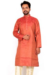 Stunning rust color jute #Kurta with cream color churidar pyjama is fluently awesome.  Item Code : SKPD1002R http://www.bharatplaza.com/new-arrivals/kurta-pyjamas.html