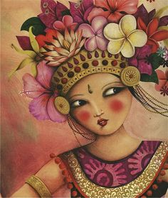 Balinese dancer, illustrated by marie desbons Bali Painting, Woman Painting, Watercolor Flowers, Watercolor Art, Indonesian Art, Pin Up, Female Art, Art Images, Cute Art