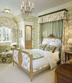 Bedroom in Green French Toile   www.lindafloyd.com