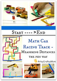Math Car Racing Track – Measuring Distances the fun way – Cars and track Measuring Experiment – fun way to combine a love for racing cars with measuring! STEM activity for kids.