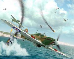 Hawker Hurricane Mk II vs Messerschmitt Bf 109E over Dover, by Valery Petelin