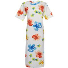 MSGM     Floral T-Shirt Dress (9.673.425 VND) ❤ liked on Polyvore featuring dresses, floral, white dress, below the knee dresses, white day dress, white t shirt dress and short sleeve floral dress