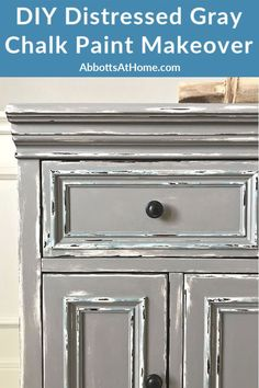 Here's my easy to follow steps for this beautiful DIY Gray Chalk Paint Furniture Makeover. With this tutorial you can distress as little or as much as you want to get the look you love. Paint layering and distressing with written steps and how to video. Gray Chalk Paint, Chalk Paint Colors, Chalk Paint Furniture, Furniture Makeover, Furniture Decor, Small House Decorating, Decorating Tips, Diy Wood Stain, Cracked Paint