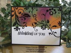 Flowering Flourishes card by Linda Gutierrez. Stamped in black and sponge dauber colored.