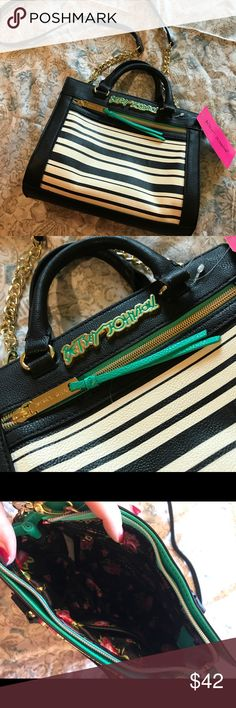 Betsey Johnson Mint Green, Black & White Purse Adorable Betsey Johnson purse with handles and detachable shoulder strap! Can be carried or worn crossbody. Black and white striped front with mint green accents. Brand new with tags! Betsey Johnson Bags Shoulder Bags