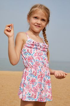 acabe2cb57bcd Blue Pink Multi-layer Ruffles Toddler Girls Swim Dress