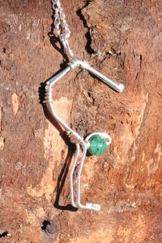 Headstand yoga pose sterling silver pendant, namaste, wire wrapped natural stone jewelry