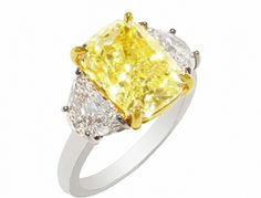 Fancy Light Yellow Cushion & HM Ring 5.53 CT FLY Center 1.84 TW WH HM