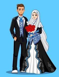 Muslim brides in black and silver clothes. Wedding Couple Cartoon, Cute Couple Cartoon, Cute Love Cartoons, Cute Couple Art, Tan Wedding, Gothic Wedding, Wedding Suits, Wedding Couples, Muslim Couple Photography