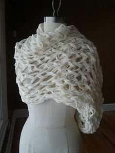 Chunky Infinity Knitted Scarf in Cream