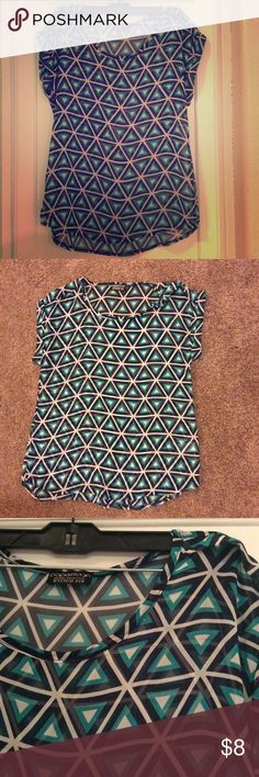 Geometric blue design blouse Blue/Turquoise geometric flowy blouse. Small snag present (see photo). 30in chest 23in length. 100% polyester. papermoon  Tops Blouses