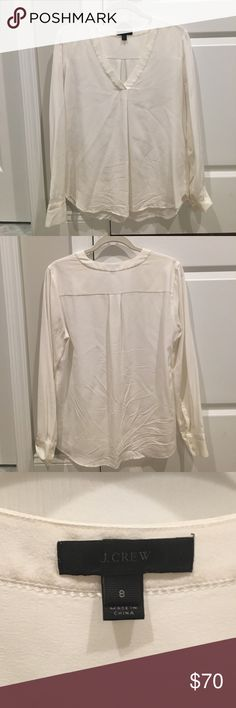 Brand new 100% silk off white J. Crew blouse Brand new never worn. V neck silk blouse. Great for all occasions. J. Crew Tops Blouses