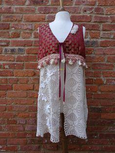 Silk Brocade and Silk Shantug VestVintage by NineMusesofCrete