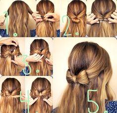 Hair Bow - can do up high Pretty Hairstyles, Braided Hairstyles, Popular Hairstyles, Pinterest Hair, Professional Hairstyles, Hair Dos, Hair Hacks, Hair Inspiration, Curly Hair Styles