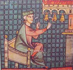 CARRILLÓN DIATÓNICO  (C. 400) Instrumento de percusión formado por siete campanas tañidas con sus respectivos badajos, configurando una escala diatónica.