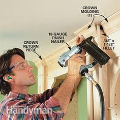 Learn how to use inexpensive materials like birch plywood and standard trim to build a classic, built in wooden bookshelves for your home or office. Bookcase Plans, Bookshelves Built In, Built Ins, Book Shelves, Bookcases, Wood Crown Molding, Base Moulding, Home Study Rooms, Handyman Projects