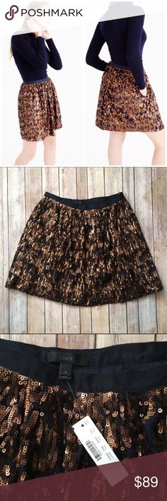 """J. Crew Abstract Sequin Skirt E5108 Gorgeous J. Crew Sequin skirt! Sequins are a beautiful copper shade. Side zip closure, pockets. Approx. 18"""" L. Style #E5108. Brand new with tags!   no trades no modeling ✅dog friendly/smoke free home ✅reasonable offers ✅bundle & save! J. Crew Skirts"""