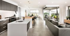 A stylish and inviting home design that provides a great setting for entertaining with family and friends. Visit this stunning Display Home in Woodvale. Plan Design, Design Ideas, Central Kitchen, Two Bedroom House, Inviting Home, Storey Homes, Display Homes, Open Plan Kitchen, Farmhouse Design