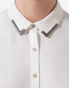 Beige Blouse with Appliqué Collar | Zara | lyst.com