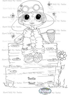 INSTANT DOWNLOAD Digi Stamps Big Eye Big Head Dolls Digi Bestie Bestie Bee Hive 1 By Sherri Baldy