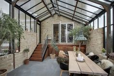 A well-arranged sunroom is particularly the glass-in living area of the house that is all attached to the house building. The main purpose of the creation of a sunroom plan is to arrange an additional living area during the extremely hot summers or t Outdoor Rooms, Outdoor Living, Glass Conservatory, Indoor Water Fountains, Wooden Decks, Pergola Designs, Pergola Kits, Deco Design, Glass House