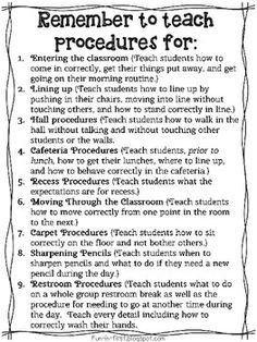 Procedures to Teach on the First Day of School {Freebie}