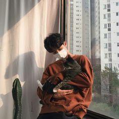 Imagen de cat and ulzzang boy
