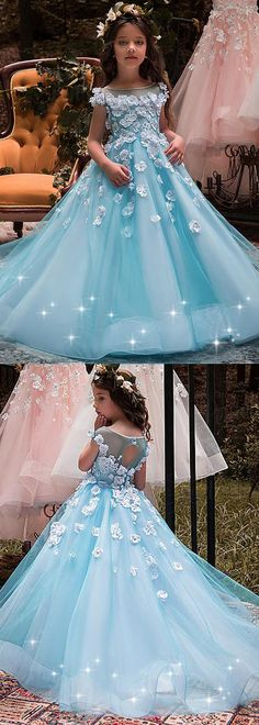 Unique Tulle & Elasticated Net Bateau Neckline Ball Gown Flower Girl Dresses With 3D flowers & Hot Fix Rhinestones