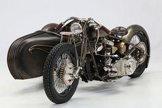 1942 Harley-Davidson Model U with custom sidecar by Abnormal Cycles