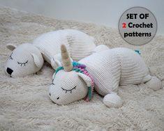 SET of 2 Crochet Patterns: Rainbow Unicorn Pillow and Polar | Etsy Selling Handmade Items, Handmade Shop, Etsy Handmade, Crochet Unicorn, Crochet Baby, Crochet Gifts, Crochet Hooks, Unicorn Pillow, Photo Pattern
