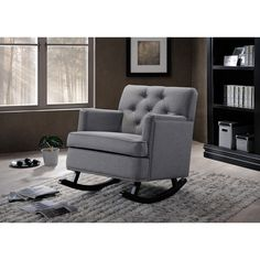 Occasional chair for bedroom to match ottoman at base of bed- Contemporary Grey Fabric Upholstered Button-tufted but not Rocking Chair