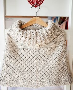 Poncho With Oversized Collar By Mon Petit Violon - Purchased Crochet Pattern - (ravelry) Poncho Au Crochet, Crochet Poncho Patterns, Crochet Scarves, Crochet Hooks, Crochet Baby, Free Crochet, Knit Crochet, Knitted Capelet, Quick Crochet