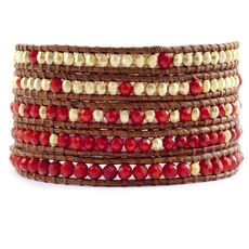 Red Coral and Gold Wrap Bracelet on Natural Brown Leather