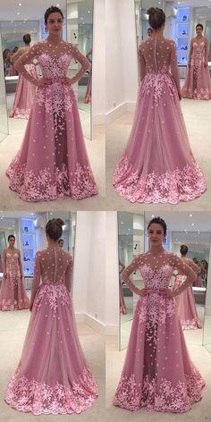 long prom dresses - Aline Bateau Long Sleeves Illusion Back Rose Pink Long Prom Dress with Appliques Blue Mermaid Prom Dress, Prom Dresses Long Pink, Gala Dresses, Tulle Prom Dress, Bridesmaid Dresses, Wedding Dresses, Bride Dresses, Party Dresses, Pink Evening Dress