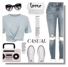 """""""Casual"""" by christinacastro830 ❤ liked on Polyvore featuring River Island, T By Alexander Wang, Converse, Topshop, Alexander McQueen and Kate Spade"""