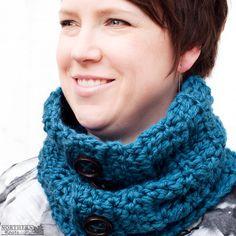 Crochet Pattern - Totally Sweet Cowl (scarf) Crochet cowl pattern - crochet scarf pattern - button cowl - button up cowl - 4 buttons - over sized cowl - winter crochet - chunky crochet scarf - easy crochet pattern - beginner crochet pattern