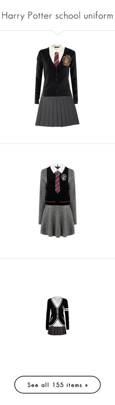 """Harry Potter school uniform"" by kerstinxx ❤ liked on Polyvore featuring harry potter, dresses, hogwarts, gryffindor, uniform, tops, cosplay, harry potter., jackets and sweaters"