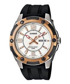 Men's Wrist Watches - Casio Mens MTP13277A1V Black Resin Quartz Watch with White Dial >>> See this great product.
